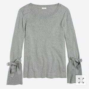 Gray Jcrew Factory Tie Bell Sleeve Sweater